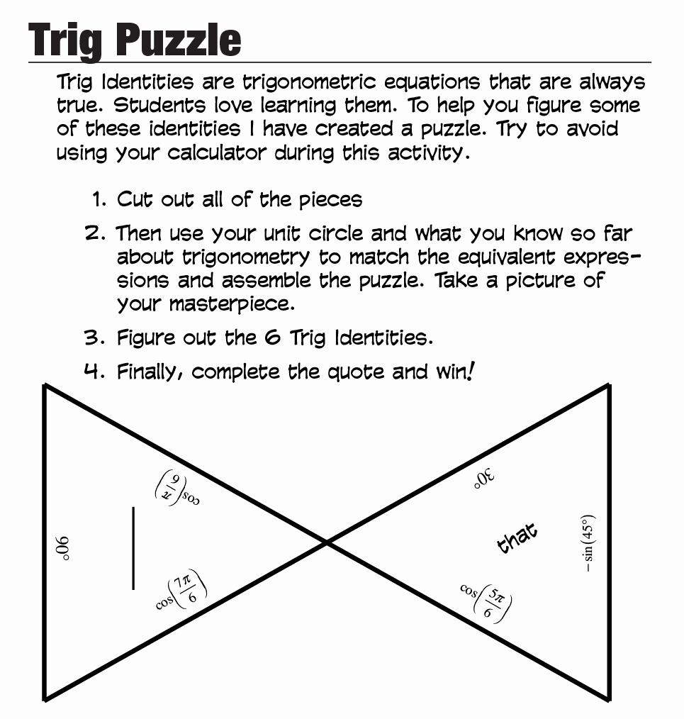 Trigonometry Unit Circle Worksheet Answers Best Of Trig Puzzle — Roybot