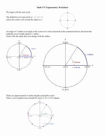 Trigonometry Unit Circle Worksheet Answers Fresh Math 11 Unit 3 Trigonometry Review Abbynet