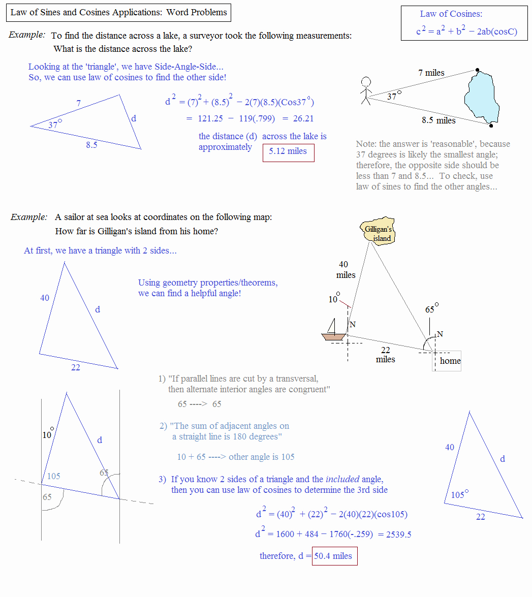 Trigonometry Word Problems Worksheet Answers Beautiful Math Plane Law Of Sines and Cosines & area Of Triangles