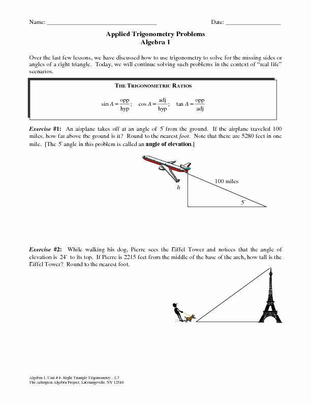 Trigonometry Word Problems Worksheet Answers Fresh Trig Word Problems Worksheet