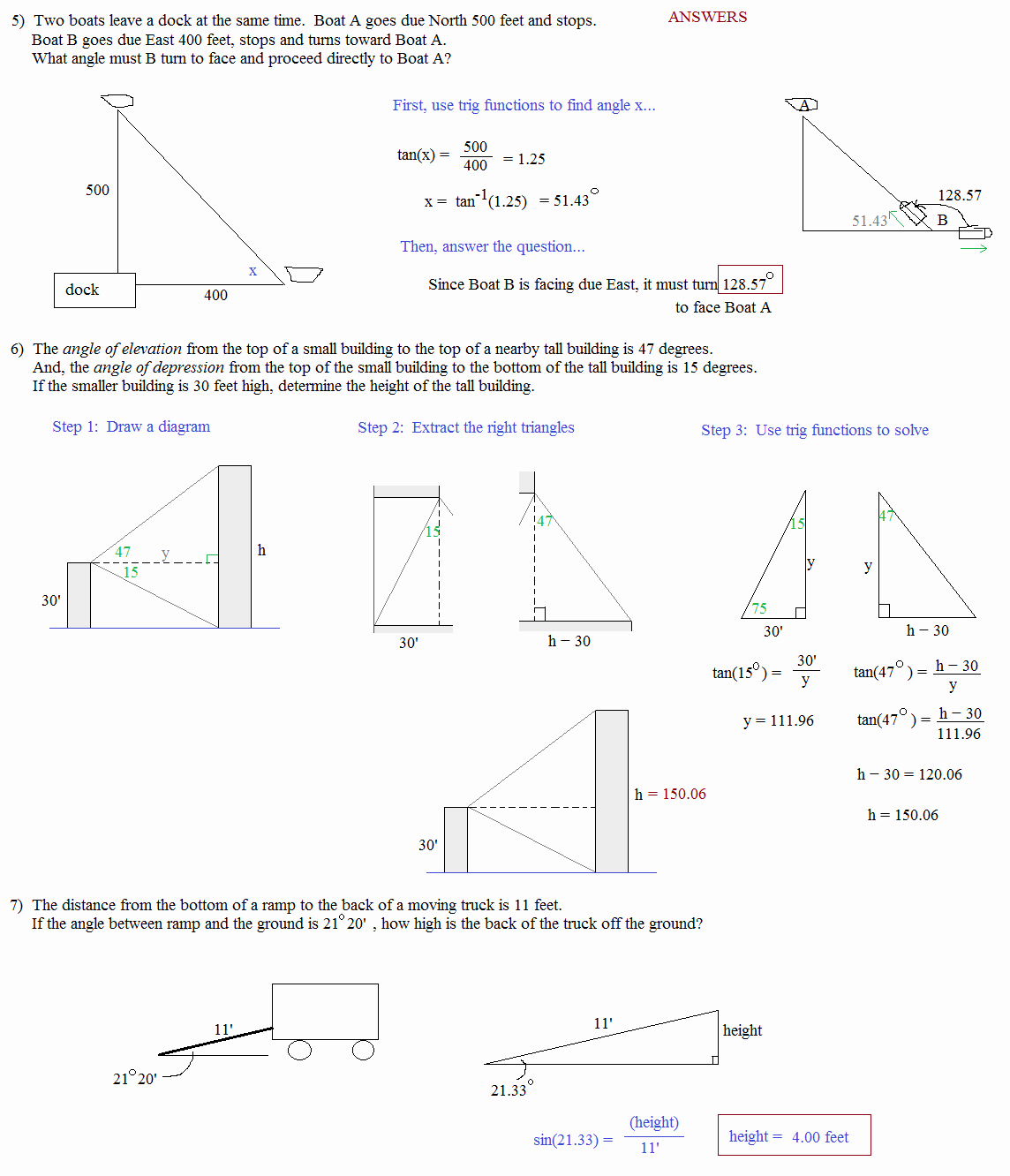 Trigonometry Word Problems Worksheet Answers Inspirational Math Plane Trigonometry Word Problems