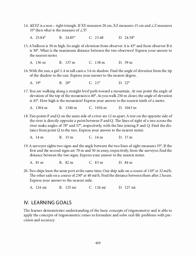 Trigonometry Word Problems Worksheet Answers New Grade 9 Mathematics Module 7 Triangle Trigonometry