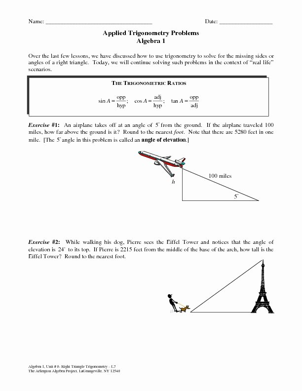 Trigonometry Word Problems Worksheet Answers Unique Applied Trigonometry Problems Worksheet for 9th 12th
