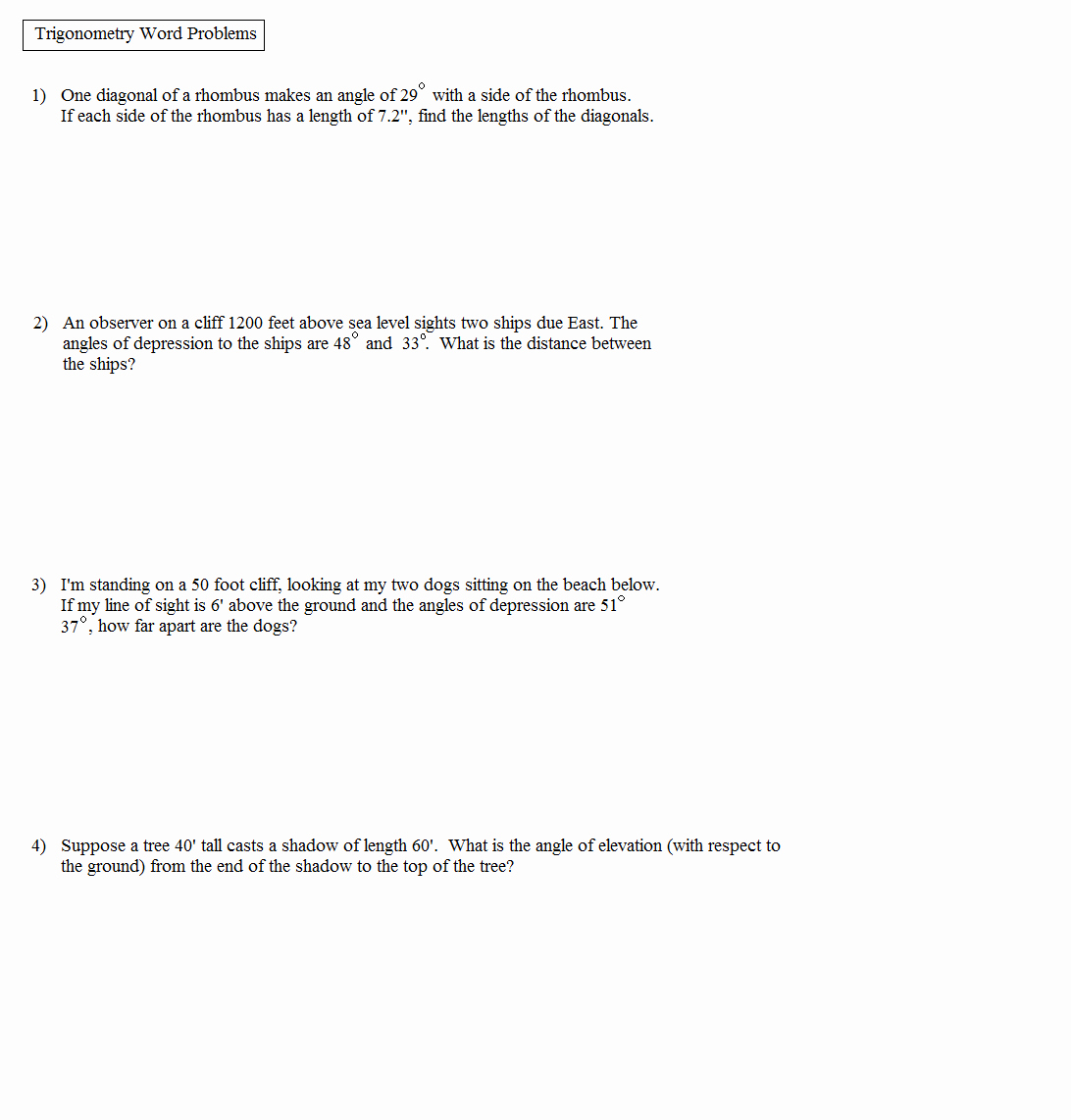 Trigonometry Word Problems Worksheet Answers Unique Math Plane Trigonometry Word Problems