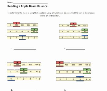 Triple Beam Balance Practice Worksheet Beautiful Metric Measurement Labs 3 Mass Volume Length