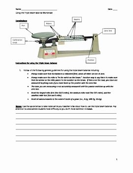 Triple Beam Balance Practice Worksheet Inspirational Middle School Science Lab Measuring Mass with the Triple