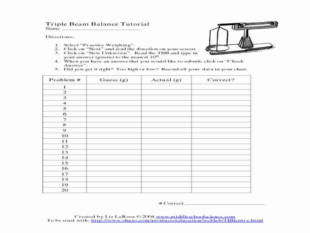 Triple Beam Balance Practice Worksheet New Triple Beam Balance Tutorial Worksheet for 3rd 4th Grade