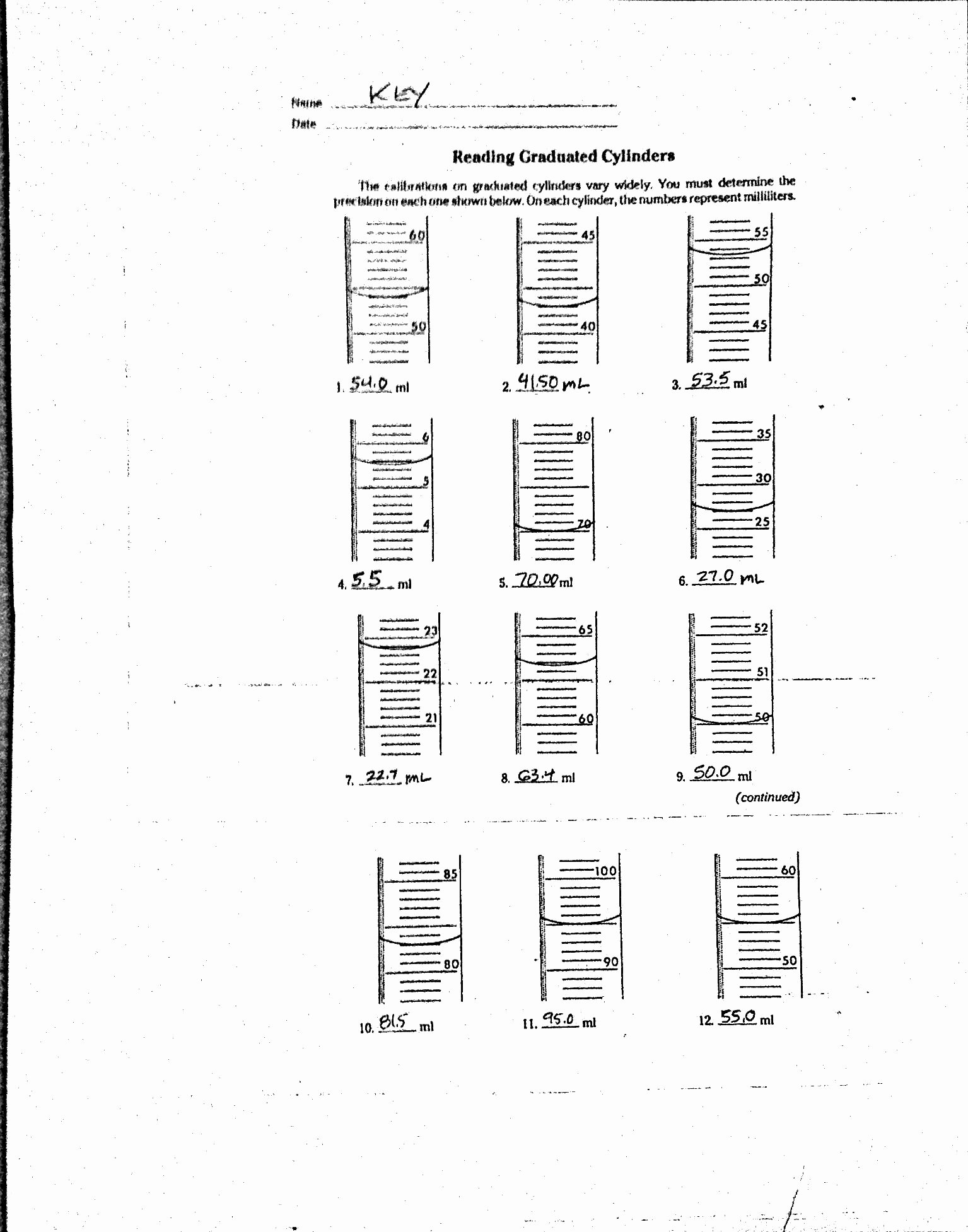 Triple Beam Balance Worksheet Beautiful Reading A Graduated Cylinder Worksheet