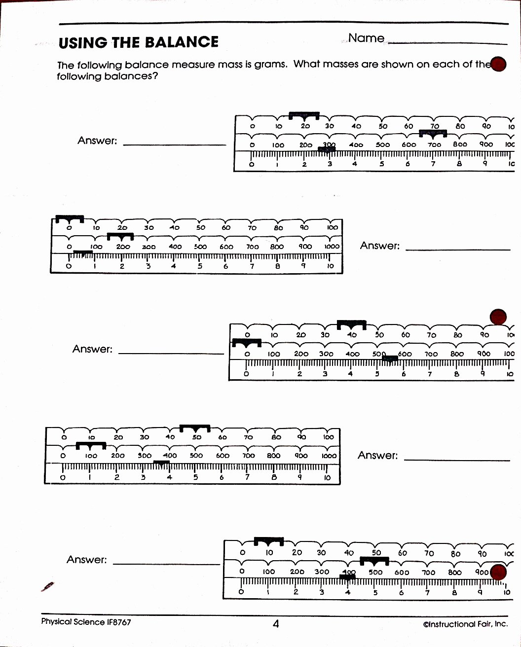 Triple Beam Balance Worksheet Beautiful Using A Triple Beam Balance Worksheets