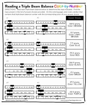 Triple Beam Balance Worksheet Inspirational Reading A Triple Beam Balance Color by Number by Science