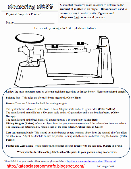 Triple Beam Balance Worksheet Unique Kate S Science Classroom Cafe Measuring Mass Worksheet
