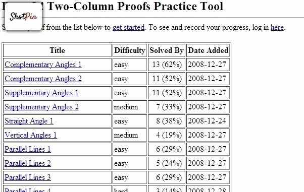 Two Column Proof Worksheet Lovely Proveit Two Column Proofs Practice tool