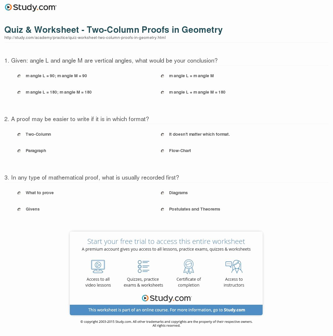 Two Column Proof Worksheet Lovely Quiz & Worksheet Two Column Proofs In Geometry