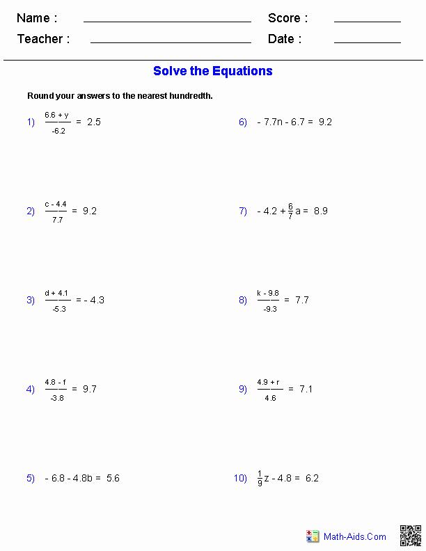 Two Step Equation Worksheet Best Of Algebra 1 Worksheets