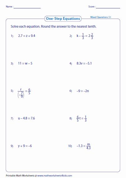 Two Step Equation Worksheet Elegant E Step Equation Worksheets