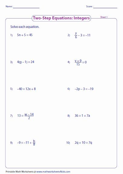 Two Step Equation Worksheet Elegant Two Step Equation Worksheets