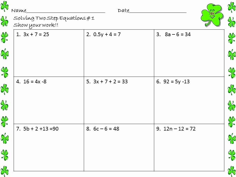 Two Step Equation Worksheet New Math Central solving Two Step Equations