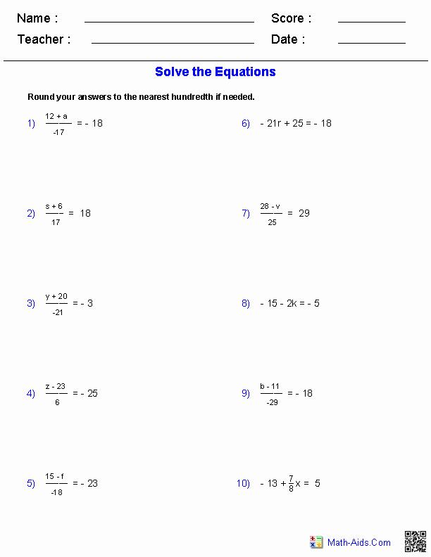 Two Step Equation Worksheet Unique Algebra 1 Worksheets