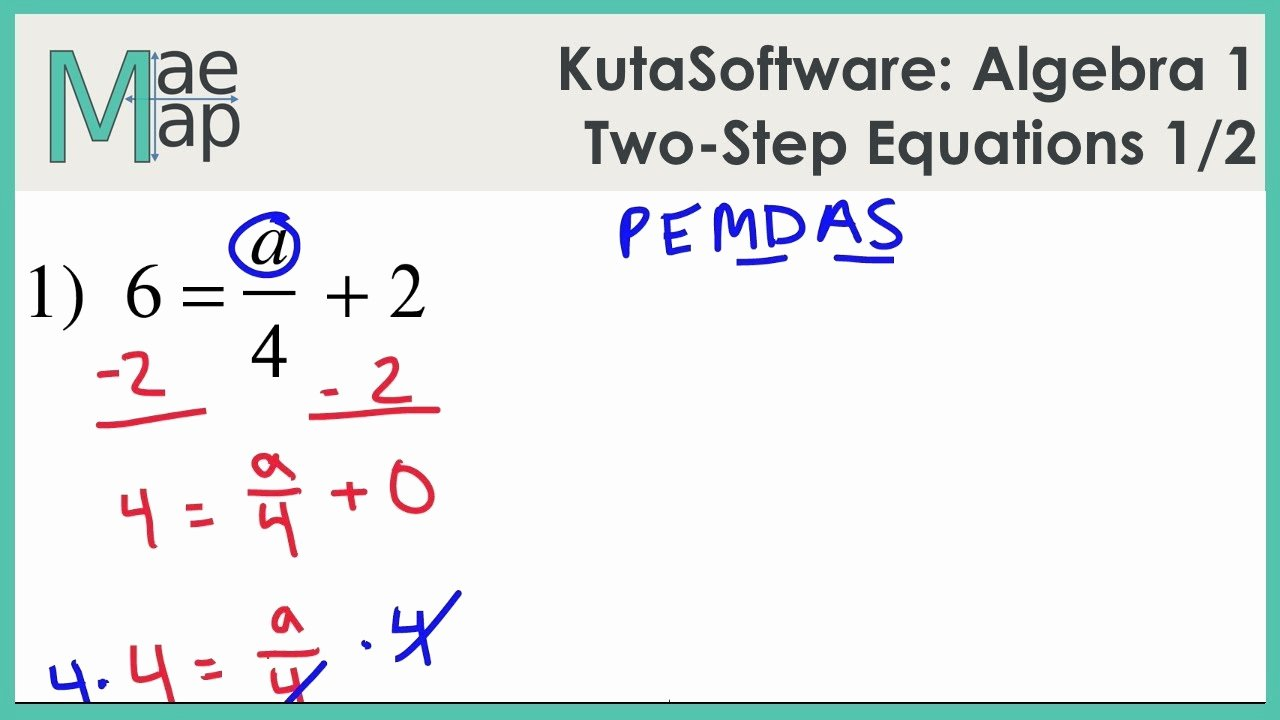 Two Step Equations Worksheet Answers Beautiful Kutasoftware Algebra 1 Two Step Equations Part 1