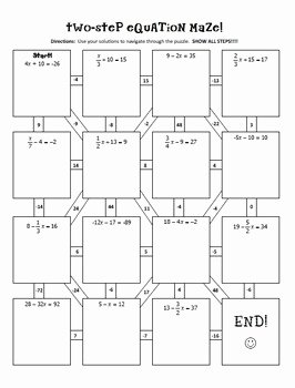 Two Step Equations Worksheet Answers Beautiful Two Step Equations Notes & Maze Activity by All Things