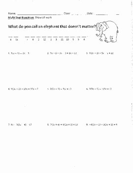Two Step Equations Worksheet Answers Elegant solving Multi Step Equations 2 Joke Worksheet with Answer