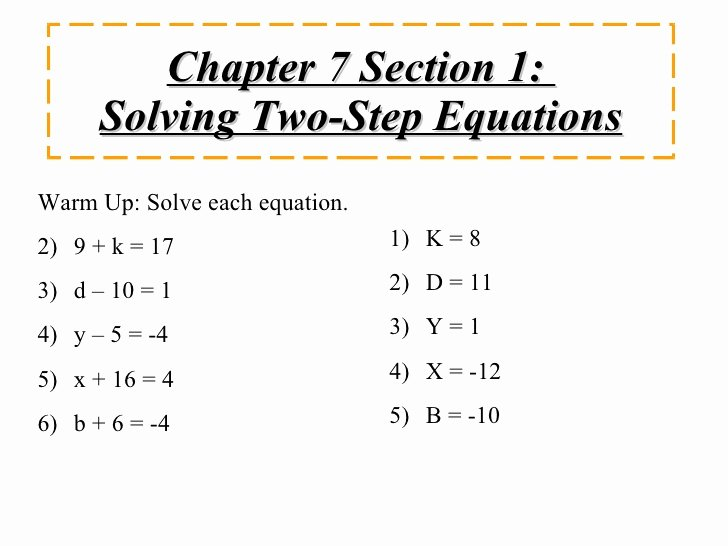 Two Step Equations Worksheet Answers Inspirational solving Two Step Equations