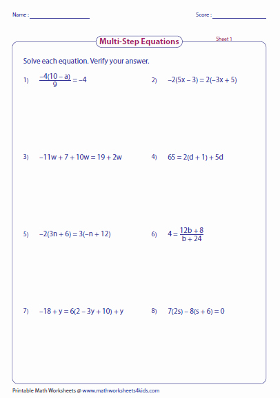 Two Step Equations Worksheet Answers Lovely Multi Step Equation Worksheets