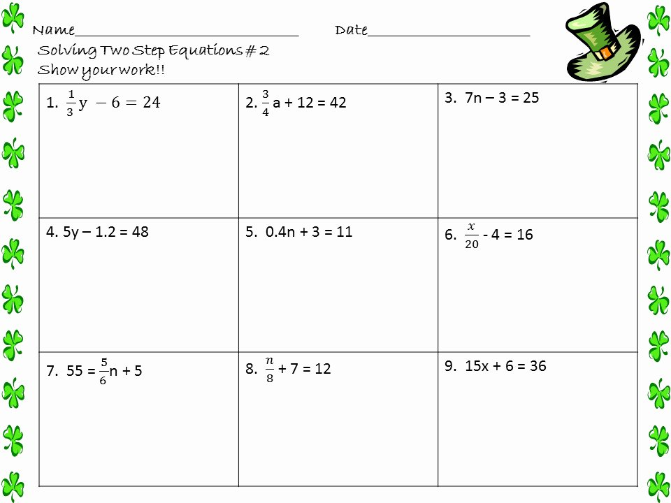 Two Step Equations Worksheet Answers Lovely solving Two Step Equations Worksheet
