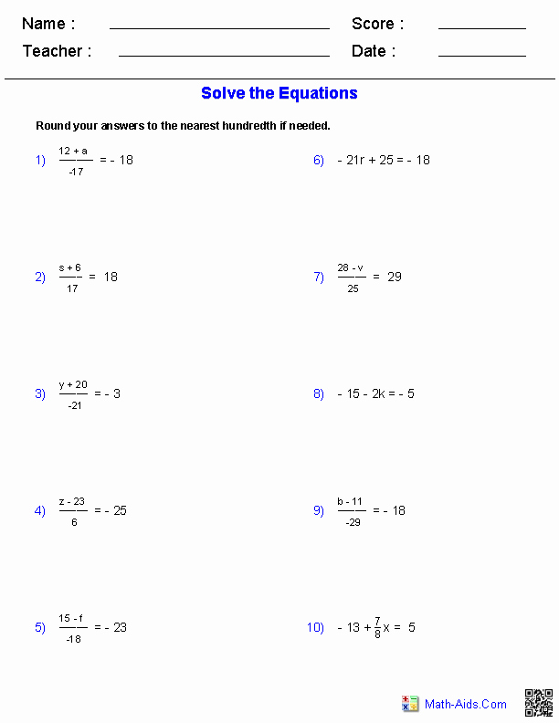 Two Step Equations Worksheet Answers Unique Algebra 1 Worksheets