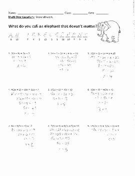 Solving Multi Step Equations 2 Joke Worksheet with Answer Key