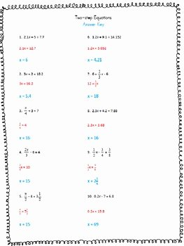 Two Step Equations Worksheet Fresh solving Two Step Equations Worksheet by Anna Aguilar