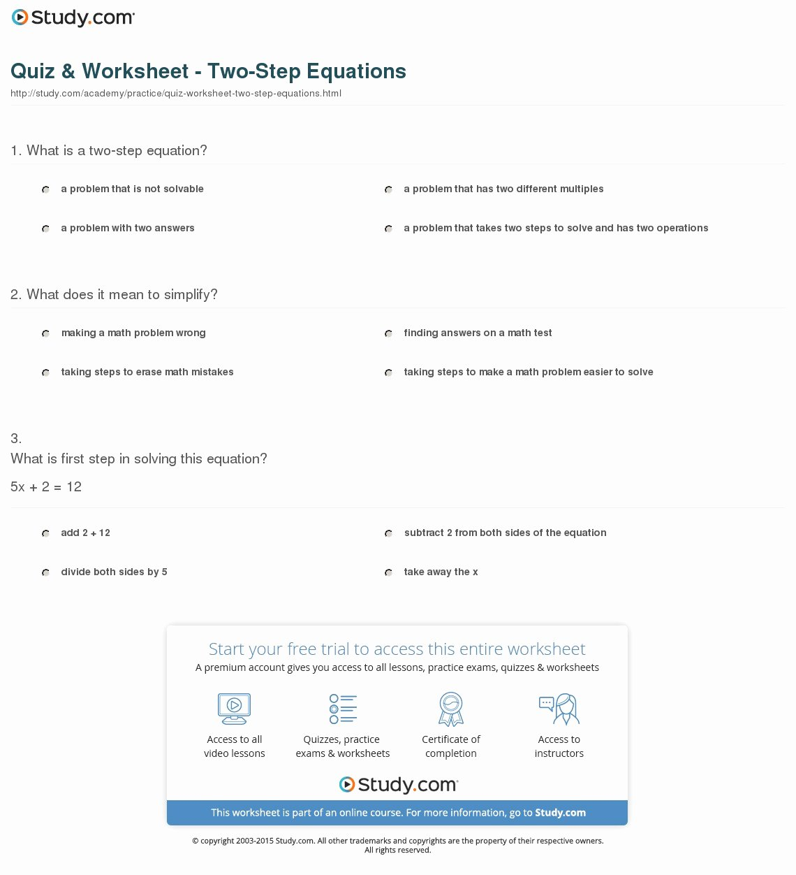 quiz worksheet two step equations