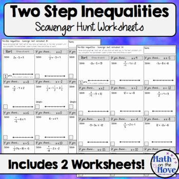 Two Step Inequalities Worksheet Awesome Two Step Inequalities Scavenger Hunt Worksheets by Math