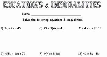 Two Step Inequalities Worksheet Inspirational Multi Step Equations & Inequalities Worksheet by Chantel