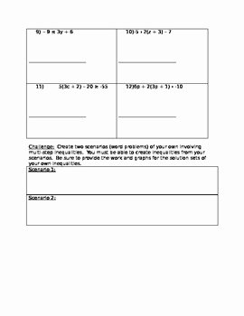 Two Step Inequalities Worksheet New 8th Grade Math Multi Step Inequalities Worksheet by L Anne