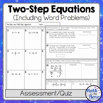 Two Step Word Problems Worksheet Beautiful Two Step Equations Quiz or Worksheet Includes Word