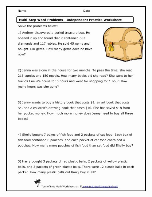 Two Step Word Problems Worksheet Best Of Multi Step Word Problems Independent Practice Worksheet