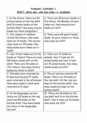Two Step Word Problems Worksheet Elegant 2 Step Addition and Subtraction Problems 4 Levels by