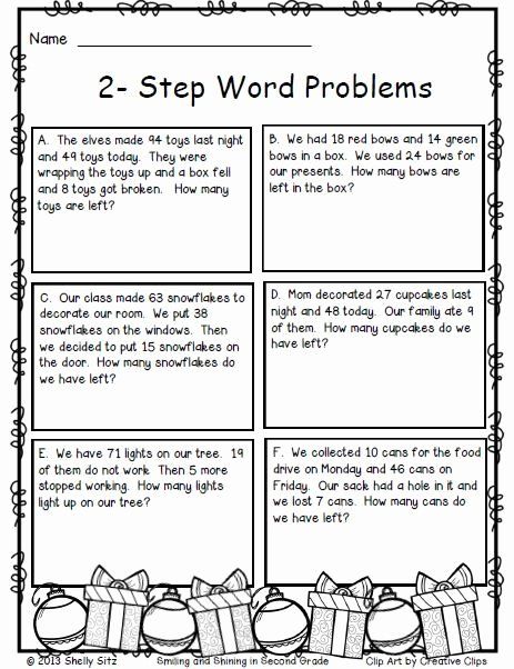 Two Step Word Problems Worksheet Elegant 2 Step Word Problems Free Christmas Math for 2nd Grade