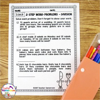 Two Step Word Problems Worksheet Elegant 2 Step Word Problems Worksheet Bundle by Teacher Gameroom