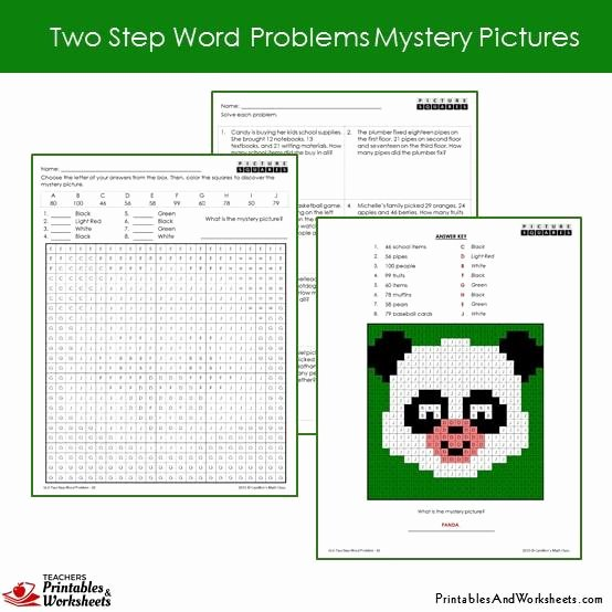 Two Step Word Problems Worksheet Fresh 2nd Grade Two Step Word Problems Mystery Coloring