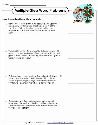 Two Step Word Problems Worksheet Fresh Multiple Step Word Problem Worksheets