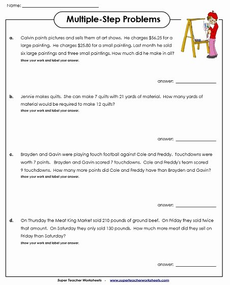 Two Step Word Problems Worksheet Fresh Multiplication Story Problems 5th Grade Geo Kids