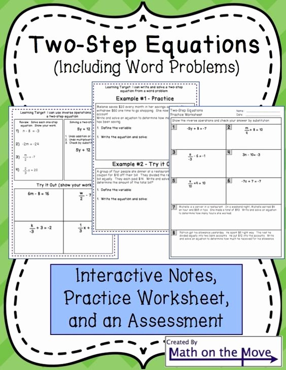 Two Step Word Problems Worksheet Fresh Two Step Equations Interactive Notes Worksheet and