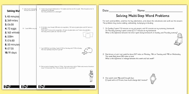 Two Step Word Problems Worksheet Fresh Two Step Maths Word Problems Differentiated Worksheet