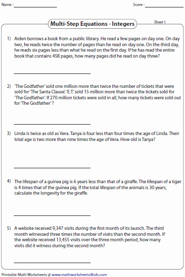 Two Step Word Problems Worksheet Lovely atazmu • Blog Archive • Two Step Equations Word Problems