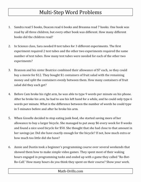 Two Step Word Problems Worksheet Lovely Easy Multi Step Word Problems Hithu