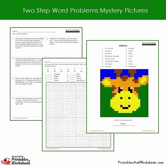 Two Step Word Problems Worksheet New 2nd Grade Two Step Word Problems Mystery Coloring