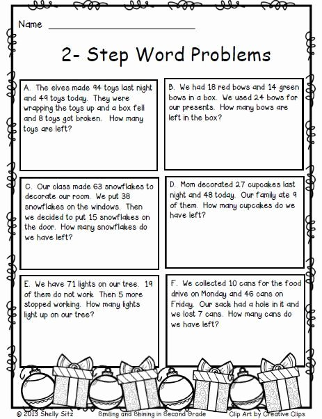 Two Step Word Problems Worksheet New Christmas Math 2 Step Word Problems Math for 2nd Grade