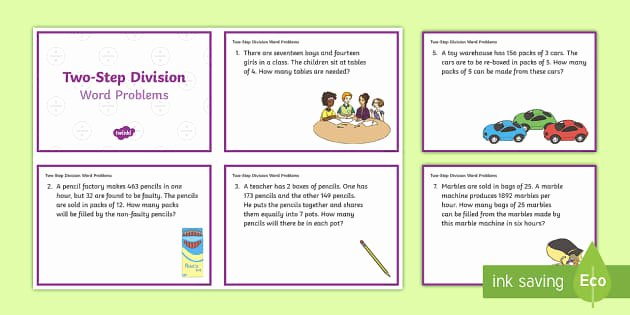 Two Step Word Problems Worksheet New Ks2 Two Step Division Word Problems Maths Challenge Cards